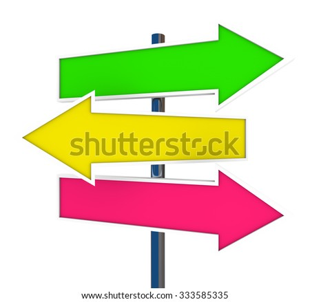 Three arrow signs representing multiple opportunities, directions, ways, routes and directions - stock photo