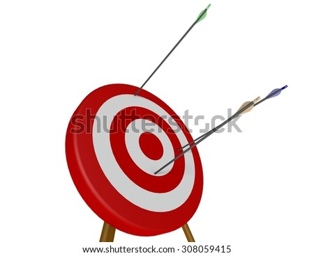 Three arrows fired at an archery target missing the bulls-eye - stock photo