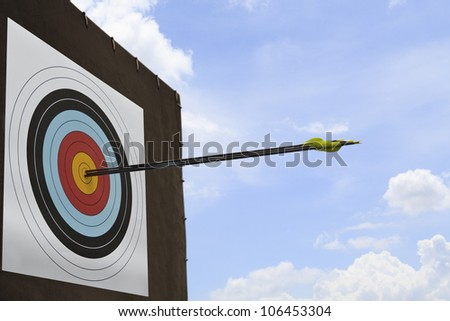 Three arrows hit an archery target.