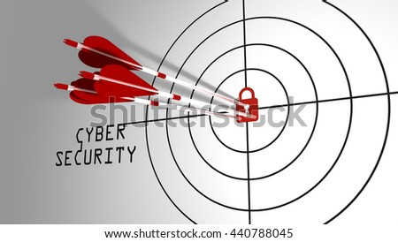 Three arrows hitting a padlock in the center of a target cybersecurity concept 3D illustration