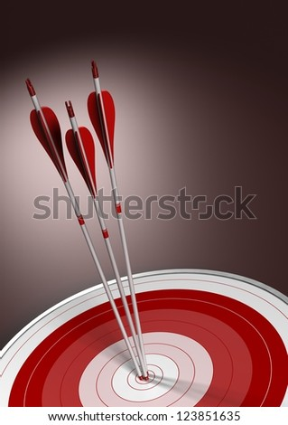 Three arrows hitting the center of a red target, vertical business concept background with room for text. - stock photo