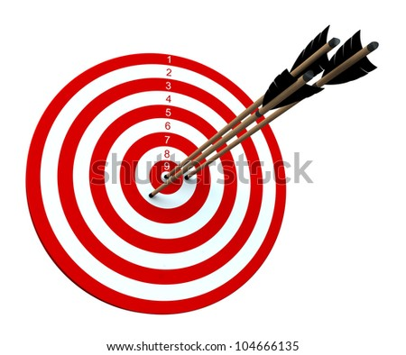 Three arrows hitting the center of target