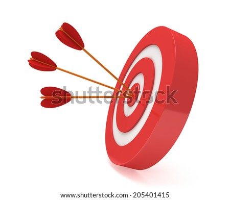 Three arrows in red aim target. Goal, luck, strategy, game, business concept. - stock photo