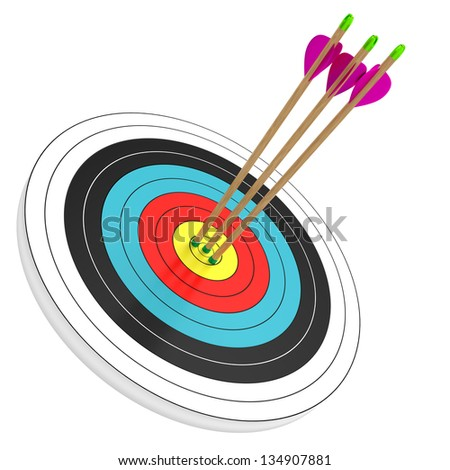 three arrows in the bull's eye isolated on white background. Computer generated image with clipping path.