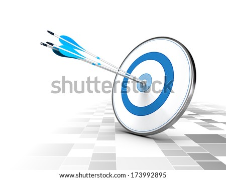 Three arrows in the center of a blue target, modern checker background. Image suitable for illustration of strategic business solutions or corporate strategy purpose.  - stock photo