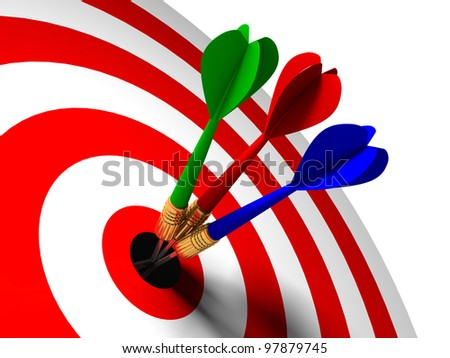 three arrows in the center of the target red white - stock photo