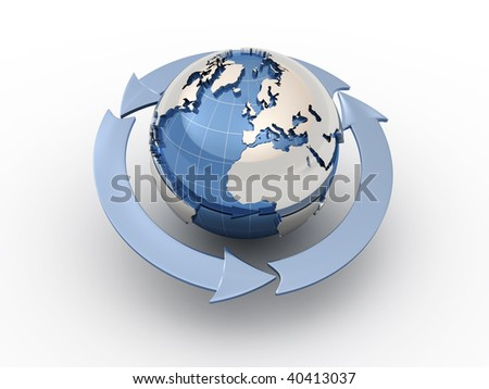 Three arrows surrounding Earth globe - 3d render
