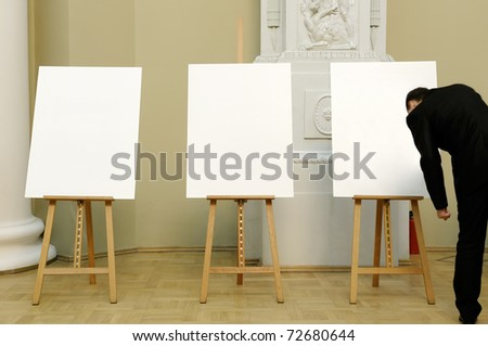 Three Artist Easel. - stock photo