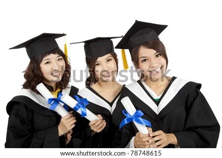 three asian Graduation Girls - stock photo