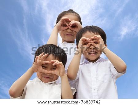three asian kids - stock photo