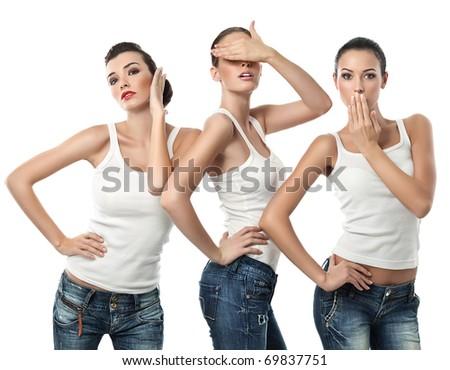three attractive  women portrait isolated on white - stock photo