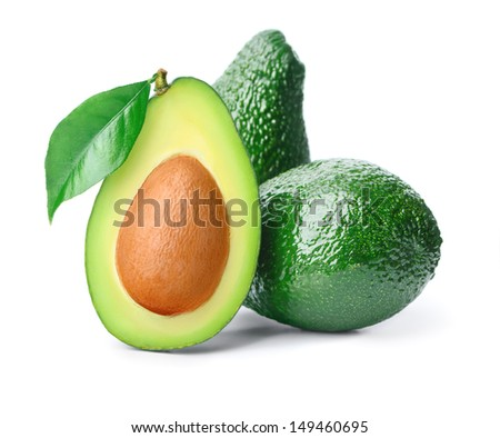 Three avocados and leaf isolated over white - stock photo