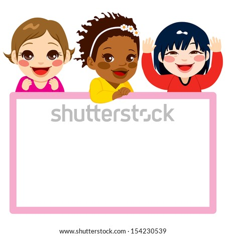 Three baby girls of different ethnicities with a pink frame white billboard - stock photo