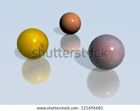 Three balls with their mirror images