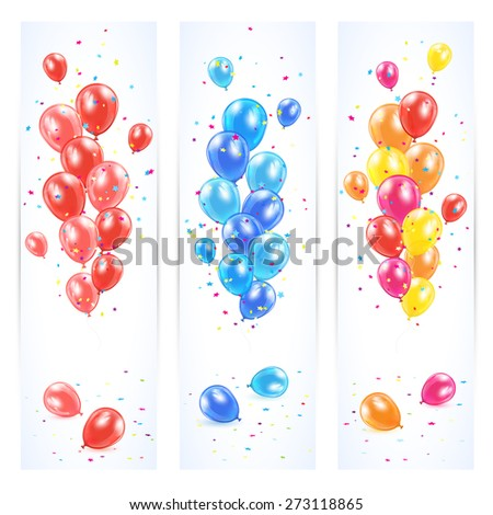 Three banners with colorful balloons and confetti, Birthday background, illustration. - stock photo