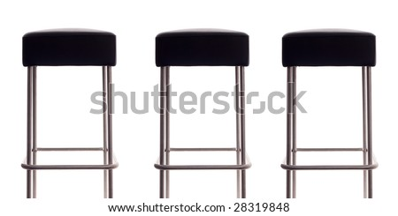 Three bar stools with a white background - stock photo