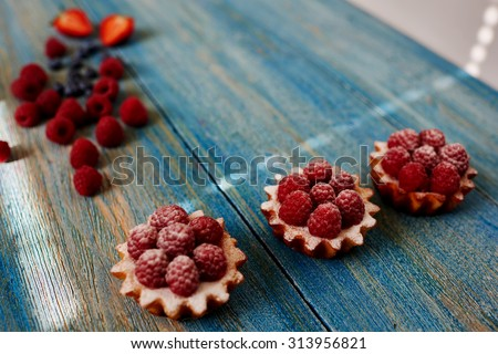 Three basket of unleavened dough laid out neatly on the table, the chef in the confectionery is going to serve their guests coffee shop - stock photo