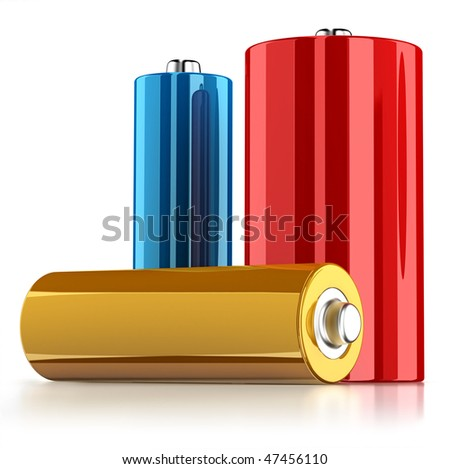 Three batteries isolated on white background with reflection on the floor - stock photo