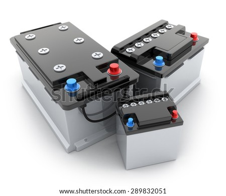 Three battery car on white background (done in 3d) - stock photo