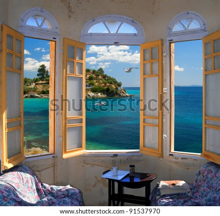 Three bay window overlooking Mediterranian Seashore - stock photo