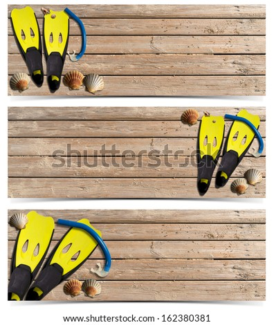Three Beach Holidays Banners - N4 / Set of three beach holidays banners with seashells, yellow flippers and blue snorkel diving on wooden floor with sand  - stock photo