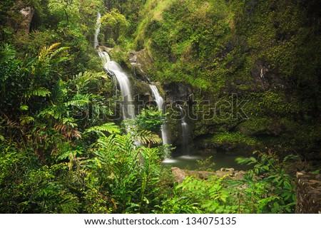 Three Bear Falls or Upper Waikuni Falls on the Road to Hana, Maui, Hawaii - stock photo