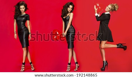 Three beautiful fashionable elegant woman posing over red background. - stock photo