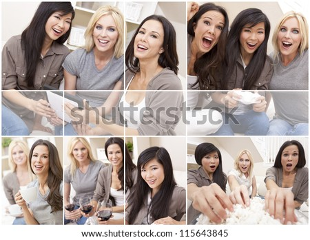 Three beautiful interracial young women friends at home having fun playing video games, drinking, eating popcorn and using a tablet computer together laughing and celebrating - stock photo