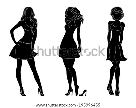 Three beautiful slim women black silhouettes with white contours, hand drawing artwork - stock photo