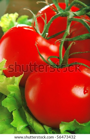 Three beautiful tomatoes with lettuce - stock photo