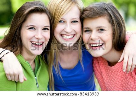 Three Beautiful Young Women Friends - stock photo