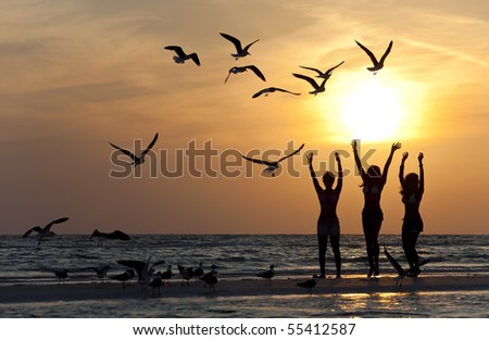 Three beautiful young women in bikinis dancing on a beach at sunset surrounded by sea gull birds all in silhouette - stock photo