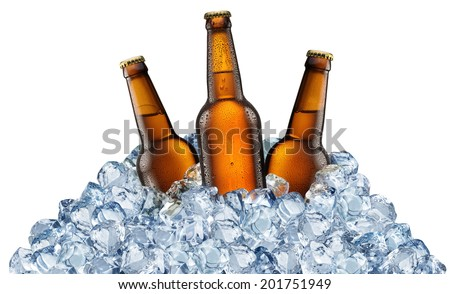 Three beer bottles getting cool in ice cubes. Isolated on a white background. File contains clipping pats. - stock photo