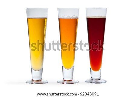 Three beers arranged by color on white background.
