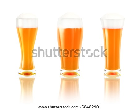 three beers with reflection isolated on white background