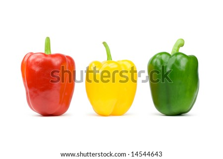 Three bell peppers. Isolated on white - stock photo