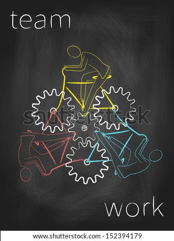 Three bicyclists are working together as a team. Abstract drawing on blackboard.  - stock photo