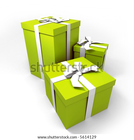 three Big green gift boxes with a white ribbons on a neutral background - stock photo
