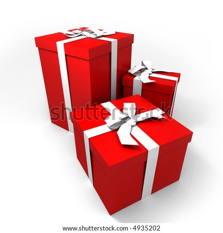 three Big red gift boxes with a white ribbons on a neutral background - stock photo