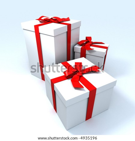 three Big white gift boxes with red ribbons on a neutral background - stock photo