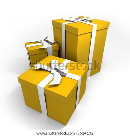 three Big yellow gift boxes with a white ribbons on a neutral background - stock photo