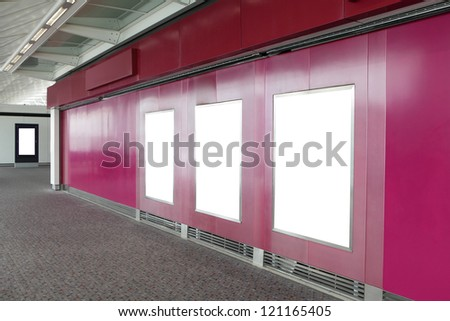 Three billboard in shopping mall, empty copy space in the image is great for designer, shot in airport - stock photo