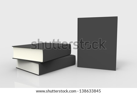 Three black books with blank covers
