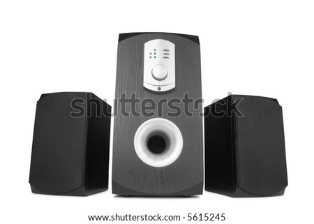 three black computer speakers with built in amplifier isolated on white - stock photo