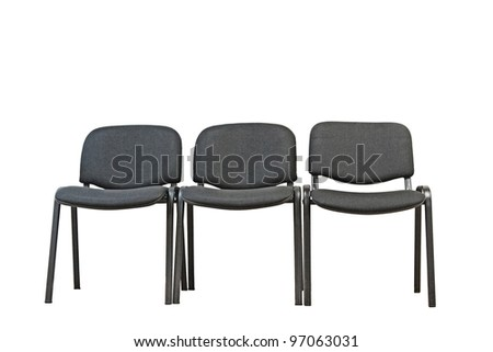 three black office chairs on a white background - stock photo