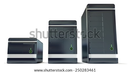 Three black server racks illustrating website hosting plans from small to big isolated on white background - stock photo