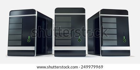 Three black shiny hosting server racks front view isolated on white background - stock photo