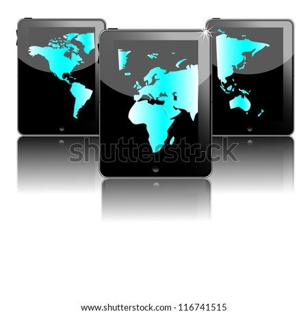 Three black tablet pc's with blue world map - stock photo