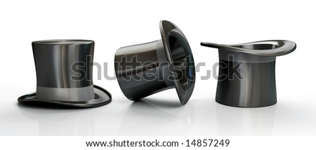 Three black top hats isolated on white background - stock photo