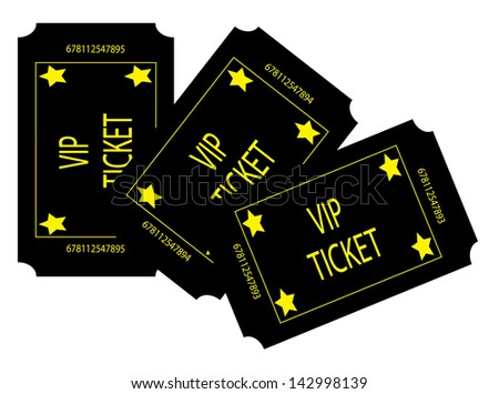 Three Black VIP Tickets - stock photo